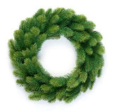 Christmas wreath. Of evergreen isolated on white background Royalty Free Stock Photo