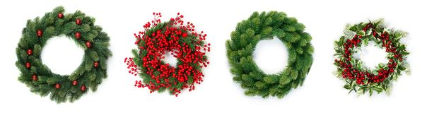 Four Christmas wreaths stock images