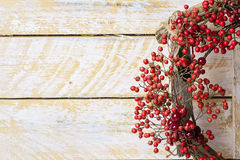 Christmas wreath of evergreen and nandian network berries Royalty Free Stock Photography