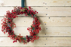 Christmas wreath of evergreen and nandian network berries Royalty Free Stock Photo