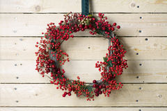 Christmas wreath of evergreen and nandian network berries Stock Photography