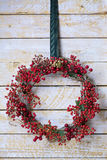 Christmas wreath of evergreen and nandian network berries Stock Images