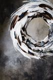 Christmas wreath of feathers on a gray background with divorces Royalty Free Stock Image
