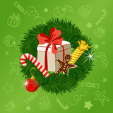 Christmas wreath on a festive background Royalty Free Stock Image