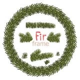 Christmas wreath with fir beuncher on white background. Xmas decorations. Vector eps10 illustration.  royalty free illustration