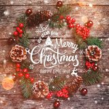 Christmas wreath of Fir branches, cones, red decorations on dark wooden background. Xmas and Happy New Year composition. Flat lay, top view royalty free illustration