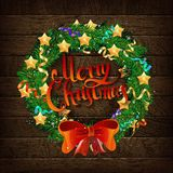Christmas wreath of Fir branches royalty free illustration