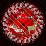 Christmas wreath with fir branches and deer, cones on red tartan background. Vector illustration. eps10 royalty free illustration