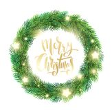 Christmas wreath of fir branches, glowing stars. And hand drawn lettering. Merry Christmas lettering text for greeting card. Vector illustration on white Stock Images