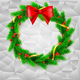 Christmas wreath, fir branches, red berries and bow, golden ribbon. Traditional Christmas wreath made of green fir branches with red berries of viburnum, Golden Royalty Free Stock Photography