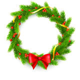Christmas wreath, fir branches, red berries, golden ribbon and bow. Traditional Christmas wreath made of green fir branches with red berries of viburnum, Golden Stock Photo
