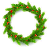 Christmas wreath, fir branches, red berries of viburnum. Traditional Christmas wreath made of green fir branches with red berries of viburnum, on a white Stock Photos
