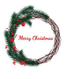 Christmas wreath fir branches, red berries on a white. Background, Merry Christmas lettering Royalty Free Stock Photography