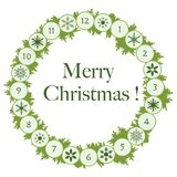 Christmas wreath with fir branches and snowflakes. New year and christmas symbols Royalty Free Illustration
