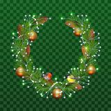 Christmas wreath of fir branches on transparent green background. Holiday decoration christmas balls, pine cones, bullfinch and ti. Tmouse. Vector illustration Stock Photos
