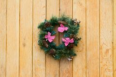 Christmas wreath with fir cones stock photography