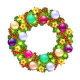 Christmas wreath with fir and holly Stock Photography