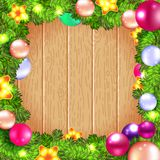 Christmas wreath with fir and holly Royalty Free Stock Photos
