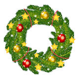 Christmas wreath with fir,  illustration. Christmas wreath with fir and garland,  illustration Stock Photography