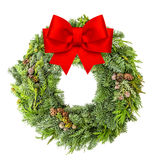 Christmas wreath from fir, pine and spruce red ribbon bow Stock Photography