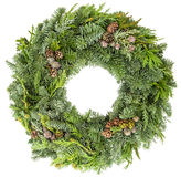 Christmas wreath from fir, pine and spruce twigs with cones Stock Image