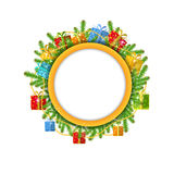 Christmas wreath with fir present boxes and bead isolated Royalty Free Stock Photos