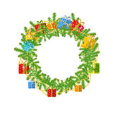 Christmas wreath with fir present boxes and bead on white Stock Photos