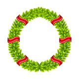 Christmas wreath of fir twigs vector. Christmas wreath of fir branches on a white background Royalty Free Stock Image