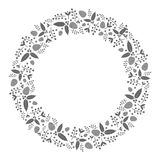 Christmas wreath flat illustration with holly plants and pinecone. Frame / background for greeting card or other Christmas templates with floral decoration Royalty Free Stock Images