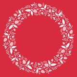 Christmas wreath flat illustration with holly plants and pinecone. Frame / background for greeting card or other Christmas templates with floral decoration. Red Stock Image