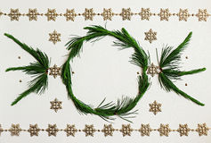 Christmas wreath frame. Flat lay. Royalty Free Stock Images