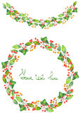 Christmas wreath (frame) and garland of watercolor branches with the red berries and green leaves Royalty Free Stock Image
