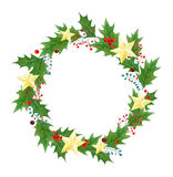 Christmas wreath or frame with holly berries, leaves and golden stars painted in watercolor on a white background Stock Photography