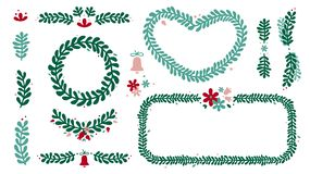 Christmas wreath and frame set. Green, red and rose Christmas wreath, frame, mistletoe branch set. Winter floral design elements stock illustration