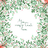 Christmas wreath (frame) of watercolor mistletoe. Christmas wreath (frame) of a mistletoe painted in watercolor on a white background vector illustration