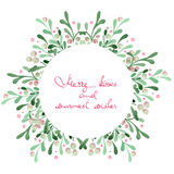 Christmas wreath (frame) of watercolor mistletoe Royalty Free Stock Photo