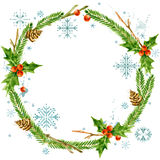 Christmas wreath frame. watercolor winter holidays background. Watercolor illustration Christmas tree, mistletoe branch, snowflake Royalty Free Stock Images
