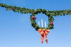 Christmas Wreath and Garland with Candles Stock Image