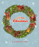 Christmas wreath with garland, gingerbread, Christmas balls, red bows. Xmas greeting card. Happy new year poster Royalty Free Stock Image