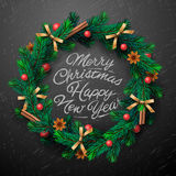 Christmas wreath with garlands Royalty Free Stock Photography