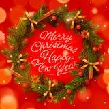 Christmas wreath with garlands Stock Photos