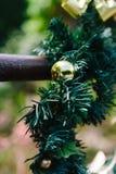 Christmas wreath on gate Stock Photo