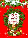 Christmas wreath with gift greeting card design Stock Photo