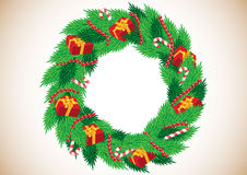 Christmas wreath with gifts Royalty Free Stock Photography