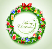 Christmas wreath with gifts Stock Photography