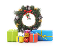 Christmas wreath with gifts. Stock Photos