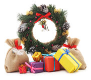 Christmas wreath with gifts. Royalty Free Stock Photo