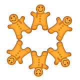 Christmas wreath gingerbread men. Stock Photo