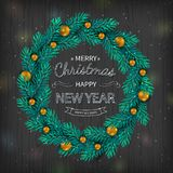 Christmas wreath with gold balls decorations, calligraphic logo on black wooden background. Holiday background. Vector Illustration Stock Photos