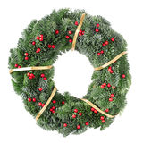 Christmas wreath with gold ribbon Stock Photography